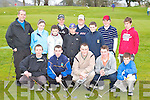 The young golfers who competed in the Short Game competition in Laccabawn Golf Course on Saturday front row l-r: David Lacey, Michael Collins, Gavin Culloty, Noel Duggan (all Killarney), Shane Crowley Tralee. Back row: Fred Twomey (Munster Golf Coach), Katie Rogers, Cathal Rogers, Raymond Kelly all Tralee, Garret Collins, Padraig Ashe both Beaufort, Padraig Collins Killarney, Fergal O'Shea Beaufort and Alex McFarlon Killarney     Copyright Kerry's Eye 2008