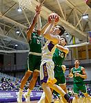 University at Albany men's basketball defeats Binghamton University 71-54  at the  SEFCU Arena, Feb. 27, 2018.  UAlbany's Matt Conway defended by Binghamton's Fard Muhammad (#0) and John Schurman (#30). (Bruce Dudek / Cal Sport Media/Eclipse Sportswire)