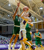 University at Albany men's basketball defeats Binghamton University 71-54  at the  SEFCU Arena, Feb. 27, 2018.  UAlbany's Matt Conway defended by Binghamton's Fard Muhammad (#0) and John Schurman (#30). (Bruce Dudek / Cal Sport Media/Eclipse Sportswire)