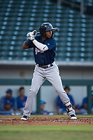 AZL Brewers left fielder Francis Florentino (9) at bat during an Arizona League game against the AZL Cubs 1 at Sloan Park on June 29, 2018 in Mesa, Arizona. The AZL Cubs 1 defeated the AZL Brewers 7-1. (Zachary Lucy/Four Seam Images)