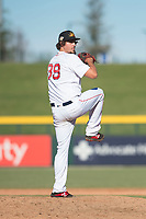 Mesa Solar Sox relief pitcher Josh Taylor (39), of the Boston Red Sox organization, delivers a pitch during an Arizona Fall League game against the Surprise Saguaros at Sloan Park on November 1, 2018 in Mesa, Arizona. Surprise defeated Mesa 5-4 . (Zachary Lucy/Four Seam Images)