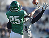 Will McCarthy #25 of Farmingdale tries to make a reception in the end zone as Ryan Hynes #14 of Oceanside helps to break up the pass during the Nassau County football Conference I semifinals at Shuart Stadium in Hempstead on Saturday, Nov. 10, 2018.