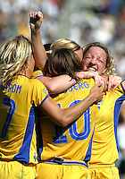Sweden celebrates, Germany 2-1 over Sweden at the  WWC 2003 Championships.