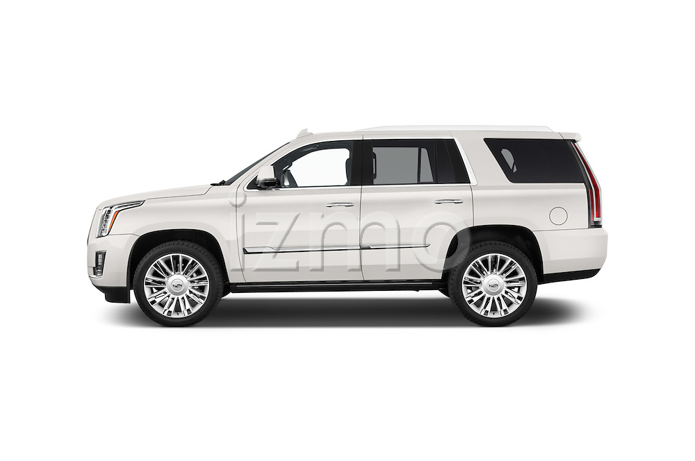 Car Driver side profile view of a 2017 Cadillac Escalade Platinum 5 Door SUV Side View