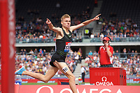 Stewart McSweyn of Australia wins the Emsley Carr Mile race during the Muller Grand Prix  IAAF Diamond League meeting at Alexander Stadium, Perry Barr, Birmingham.<br /> Picture by Alan Stanford +44 7915 056117<br /> 18/08/2018