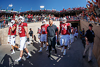 STANFORD, CA - SEPTEMBER 21: Head coach David Shaw of the Stanford Cardinal walks with the team during a game between University of Oregon and Stanford Football at Stanford Stadium on September 21, 2019 in Stanford, California.