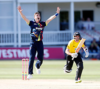 Adam Milne of Kent appeals during the Vitality Blast T20 game between Kent Spitfires and Gloucestershire at the St Lawrence Ground, Canterbury, on Sun Aug 5, 2018
