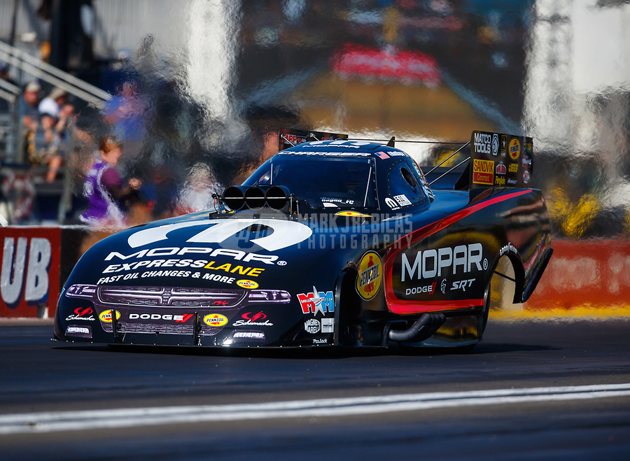 Feb 9, 2018; Pomona, CA, USA; NHRA funny car driver Matt Hagan during qualifying for the Winternationals at Auto Club Raceway at Pomona. Mandatory Credit: Mark J. Rebilas-USA TODAY Sports