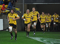 Hurricanes captain Andrew Hore leads his team out for the last time. Super 15 rugby match - Crusaders v Hurricanes at Westpac Stadium, Wellington, New Zealand on Saturday, 18 June 2011. Photo: Dave Lintott / lintottphoto.co.nz