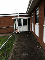 "Pictured: The ladder used to reach the soft toy which locals thought it was a dead dog on the roof of the Elim Pentecostal Church in Port Talbot, Wales, UK.<br /> Re: A ""dead dog"" on a church roof in Port Talbot, Wales, turned out to be a soft toy.<br /> A concerned local spotted the limp object on top of the Elim Pentecostal Church and called the RSPCA.<br /> When inspector Nigel Duguid arrived at the scene, feared the worse, but he was relieved to discover that it was actually a cuddly toy.<br /> Mr Duguid, who has worked for the RSCPA for 37 years, said: ""I must admit it was such a relief"".<br /> ""From a distance it was difficult to see what was on the roof,"" he said.<br /> ""It is good to know that there are people out there who are looking out for animals, as our caller had no idea that it wasn't a real dog."""