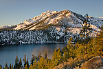 Mount Tallac in winter above Cascade Lake, near South Lake Tahoe, California