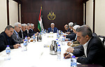 Palestinian President Mahmoud Abbas, chairs a meeting of the Central Committee in the West Bank city of Ramallah October 5, 2017. Photo by Osama Falah