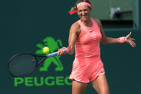 KEY BISCAYNE, FL - MARCH 22: Victoria Azarenka on day 10 of the Miami Open at Crandon Park Tennis Center on March 22, 2018 in Key Biscayne, Florida. <br /> <br /> <br /> People:  Victoria Azarenka