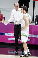 Slovenia's coach Zdovc Jure with his player Goran Dragic during 2014 FIBA Basketball World Cup Quarter-Finals match.September 9,2014.(ALTERPHOTOS/Acero)