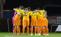 The Wycombe pre match huddle during the Sky Bet League 2 rearranged match between Bristol Rovers and Wycombe Wanderers at the Memorial Stadium, Bristol, England on 1 December 2015. Photo by Andy Rowland.