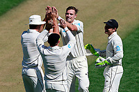Tim Southee celebrates the wicket of Moeen Ali, New Zealand Black Caps v England. Day 1 of the day-night, pink ball cricket test match at Eden Park in Auckland. 22 March 2018. Copyright Image: William Booth / www.photosport.nz