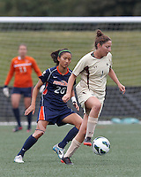 Boston College forward Victoria DiMartino (1) works to clear ball. Pepperdine University defeated Boston College,1-0, at Soldiers Field Soccer Stadium, on September 29, 2012.