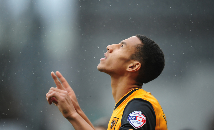 Hull City's Isaac Hayden goes through a personal pre-match routine<br /> <br /> Photographer Chris Vaughan/CameraSport<br /> <br /> Football - The Football League Sky Bet Championship - Burnley v Hull City - Saturday 6th February 2016 - Turf Moor - Burnley <br /> <br /> &copy; CameraSport - 43 Linden Ave. Countesthorpe. Leicester. England. LE8 5PG - Tel: +44 (0) 116 277 4147 - admin@camerasport.com - www.camerasport.com