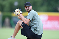 Atlanta Braves pitcher Chad Sobotka throws live batting practice with Major League and Minor League players from around the region on Friday, June 5, 2020, at Fluor Field at the West End in Greenville, South Carolina. Team workouts have been shut down during the coronavirus pandemic, so this group began working out in what they call game situation simulations a couple of days a week. Sobotka was drafted out of USC Upstate. (Tom Priddy/Four Seam Images)
