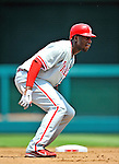 30 May 2011: Philadelphia Phillies outfielder John Mayberry in action against the Washington Nationals at Nationals Park in Washington, District of Columbia. The Phillies defeated the Nationals 5-4 to take the first game of their 3-game series. Mandatory Credit: Ed Wolfstein Photo