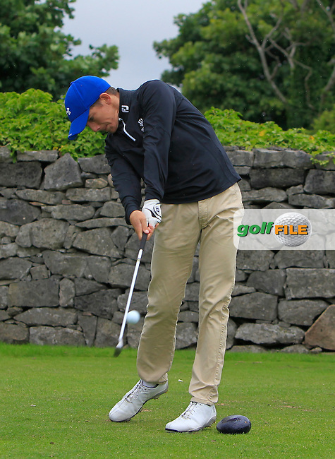 Jeff Kealy (Kilkenny) on the 1st tee during R2 of the 2016 Connacht U18 Boys Open, played at Galway Golf Club, Galway, Galway, Ireland. 06/07/2016. <br /> Picture: Thos Caffrey | Golffile<br /> <br /> All photos usage must carry mandatory copyright credit   (&copy; Golffile | Thos Caffrey)