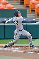 Designated hitter Cody Miller (18) of the Wofford College Terriers bats in a game against the Clemson University Tigers on Tuesday, March 1, 2016, at Doug Kingsmore Stadium in Clemson, South Carolina. Clemson won, 7-0. (Tom Priddy/Four Seam Images)