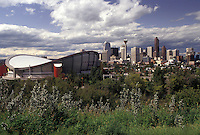 Calgary, skyline, Canada, Alberta, View of the Canadian Airlines Saddledome and the downtown skyline of Calgary.