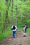 Two women walk in the woods.