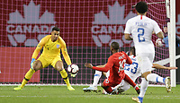 TORONTO, ON - OCTOBER 15: Zack Steffen #1 of the United States attempts to save a ball during a game between Canada and USMNT at BMO Field on October 15, 2019 in Toronto, Canada.