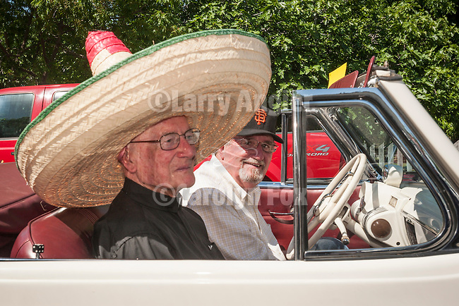 137th annual Ione Homecoming Parade, Rancheros and Sombreros theme, downtown Main St., Ione, Calif...90 year old Father Thomas Relihan of Ione's Sacred Heart Parish