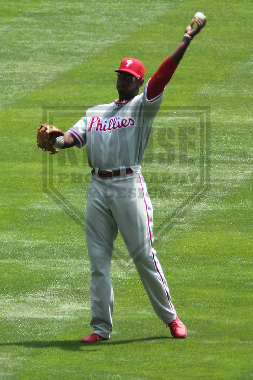 MILWAUKEE - June 2013: Domonic Brown (9) of the Philadelphia Phillies during a game against the Milwaukee Brewers on June 9, 2013 at Miller Park in Milwaukee, Wisconsin. (Photo by Brad Krause)