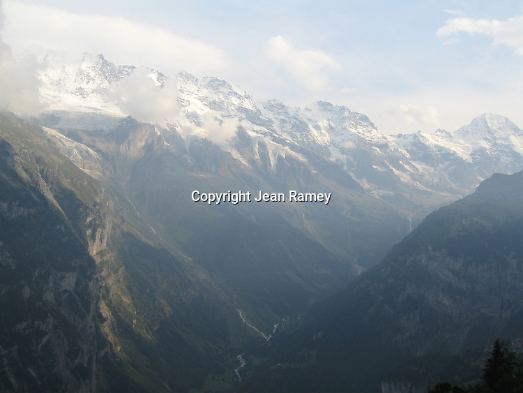 Vast range of the Swiss Alps from Murren, Switzerland