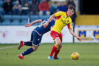 8th February 2020; Dens Park, Dundee, Scotland; Scottish Championship Football, Dundee versus Partick Thistle; James Penrice of Partick Thistle goes past Paul McGowan of Dundee