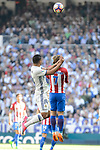 Real Madrid's Carlos Henrique Casemiro and Atletico de Madrid's Antoine Griezmann during La Liga match between Real Madrid and Atletico de Madrid at Santiago Bernabeu Stadium in Madrid, April 08, 2017. Spain.<br /> (ALTERPHOTOS/BorjaB.Hojas)