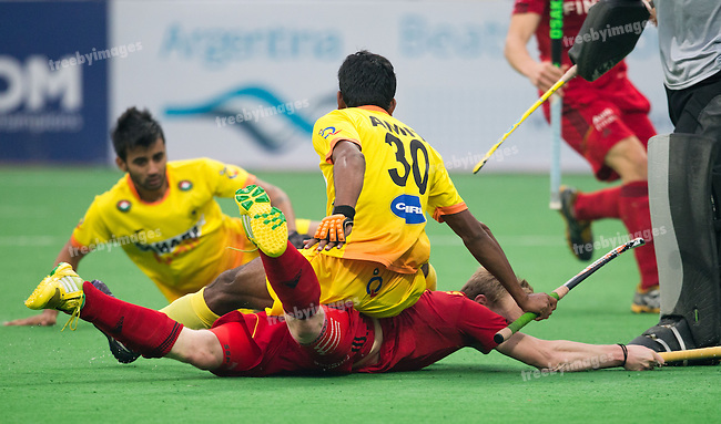 Mens Hockey World league Final Delhi 2014<br /> Day 6, 18-01-2014<br /> Position 5-6 Belgium v India<br /> <br /> <br /> Photo: Grant Treeby / treebyimages