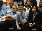 """13 October 2006: UNC Women's basketball head coach Sylvia Hatchell (l) with assistant coaches Andrew Calder and Tracey Williams-Johnson (r). The University of North Carolina at Chapel Hill Tarheels held their first Men's and Women's basketball practices of the season as part of """"Late Night with Roy Williams"""" at the Dean E. Smith Center in Chapel Hill, North Carolina."""