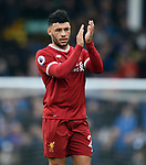 Alex Oxlade Chamberlain of Liverpool thanks the fans at the end of the premier league match at Goodison Park Stadium, Liverpool. Picture date 7th April 2018. Picture credit should read: Robin Parker/Sportimage
