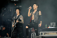 DERBY, ENGLAND - JUNE 10: Jake Pitts and Andy Biersack of 'Black Veil Brides ' performing at Download Festival, Donington Park on June 10, 2018 in Derby.<br /> CAP/MAR<br /> &copy;MAR/Capital Pictures
