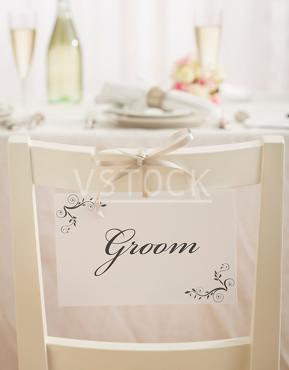 Groom's place at weeding reception