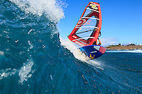 Damien Girardin (FRA) windsurfing in Ho'okipa Beach Park (Maui, Hawaii, USA)