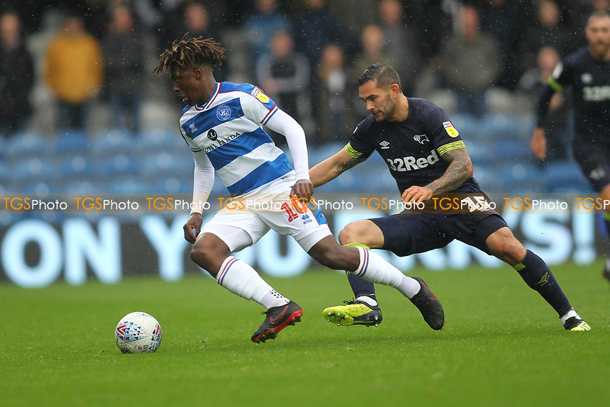 Eberechi Eze of Queens Park Rangers and Bradley Johnson of Derby County during Queens Park Rangers vs Derby County, Sky Bet EFL Championship Football at Loftus Road Stadium on 6th October 2018