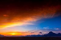 Sunrise in the Arabian Desert at Wadi Rum, Jordan.