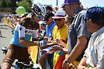 Romain Bardet (FRA) AG2R La Mondiale with fans at the start of Stage 4 of the 2018 Tour de France running 195km from La Baule to Sarzeau, France. 10th July 2018. <br /> Picture: ASO/Pauline Ballet | Cyclefile<br /> All photos usage must carry mandatory copyright credit (&copy; Cyclefile | ASO/Pauline Ballet)