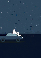 Astronaut wearing space suit lying on top of car looking up at stars