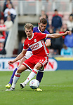 Patrick Bamford of Middlesbrough and Jack O'Connell of Sheffield Utd during the Championship match at the Riverside Stadium, Middlesbrough. Picture date: August 12th 2017. Picture credit should read: Simon Bellis/Sportimage