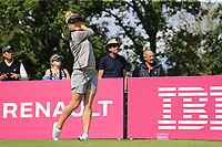Charley Hull (ENG) tees off the 5th tee during Friday's Round 2 of The Evian Championship 2018, held at the Evian Resort Golf Club, Evian-les-Bains, France. 14th September 2018.<br /> Picture: Eoin Clarke | Golffile<br /> <br /> <br /> All photos usage must carry mandatory copyright credit (&copy; Golffile | Eoin Clarke)