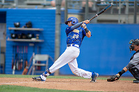 UC-Riverside Highlanders Cody Sporrer (28) follows through on his swing against the Cal Poly San Luis Obispo Mustangs at Riverside Sports Complex on May 26, 2018 in Riverside, California. The Cal Poly SLO Mustangs defeated the UC Riverside Highlanders 6-5. (Donn Parris/Four Seam Images)