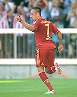 FUSSBALL   1. BUNDESLIGA  SAISON 2011/2012   5. Spieltag FC Bayern Muenchen - SC Freiburg         10.09.2011 JUBEL nach dem TOR zum 2:0 von Franck Ribery (FC Bayern Muenchen)