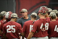 NWA Democrat-Gazette/ANDY SHUPE<br /> Arkansas assistant coach Nate Thompson speaks to his position players Friday, June 7, 2019, during practice in The Fowler Family Baseball and Track Training Center ahead of today's NCAA Super Regional game at Baum-Walker Stadium in Fayetteville. Visit nwadg.com/photos to see more photographs from the practices.