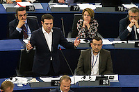 Discorso di Alexis Tsipras<br /> Strasburgo 08-07-2015 Seduta del Parlamento Europeo<br /> Foto Elyxandro Cegarra / Panoramic/ Insidefoto